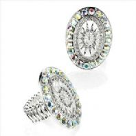 Fashion Costume Jewellery Stretchy Crystal Oval Ring-DAR24411